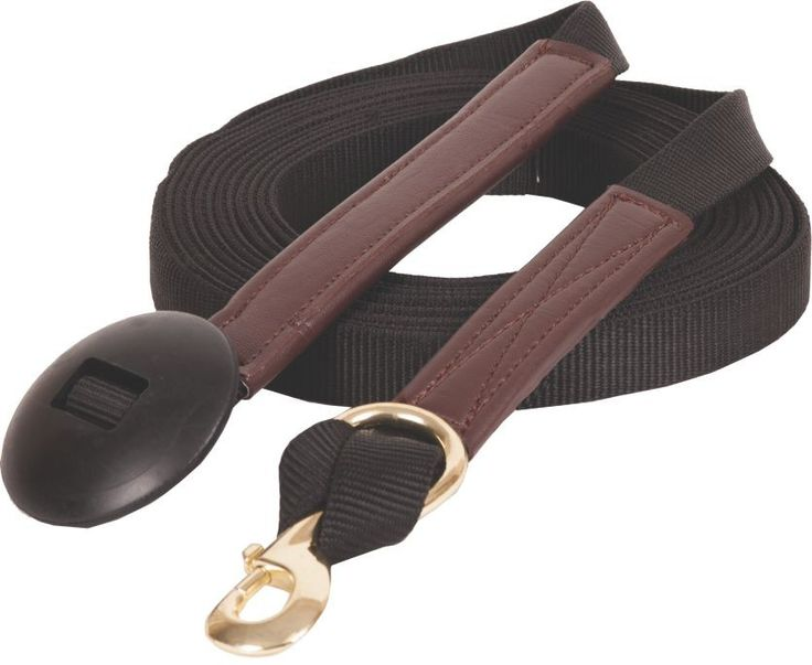 "Nylon Lunge Line 1"" x 24' flat poly lunge line with brass  plated snap and rubber butt end. Black only  $27.95"
