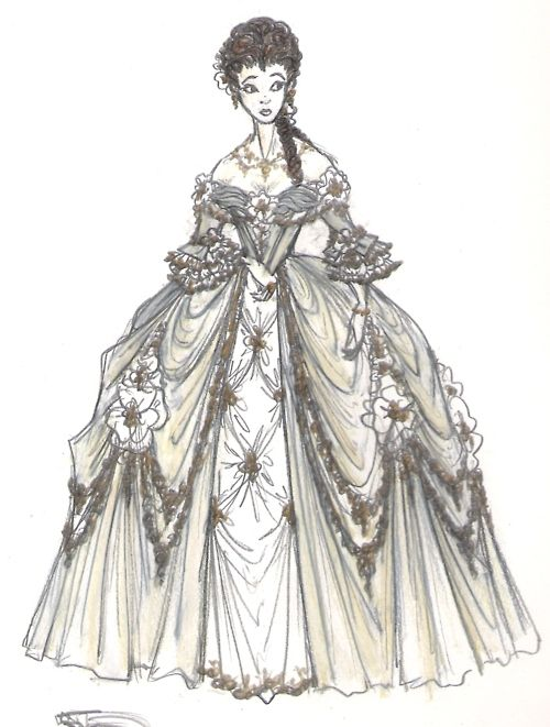"""Beauty And The Beast"" concept art. Gorgeous image of Belle dressed up in her ball gown, with that unnerved look on her face. All sorts of fanfic ideas popping up..."