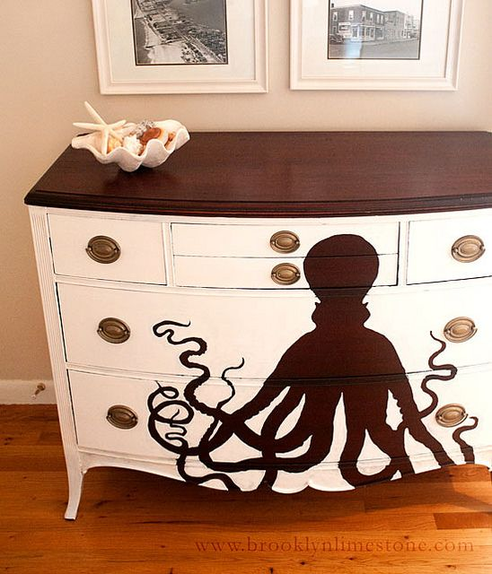 OctopusDresser by Brooklyn Limestone- so easy to do at home ;): Ideas, Beach House, Octopus Dresser, Brooklyn Limestone, Dressers, Furniture, Diy, Octopuses