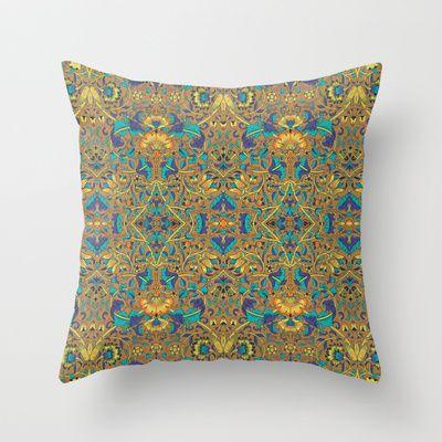 Arabic Marigold Throw Pillow by Geetika Gulia - $20.00