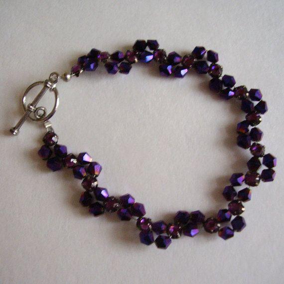 Austrian Glass Bracelet Purple Aurora by Vintage0Sparklers on Etsy
