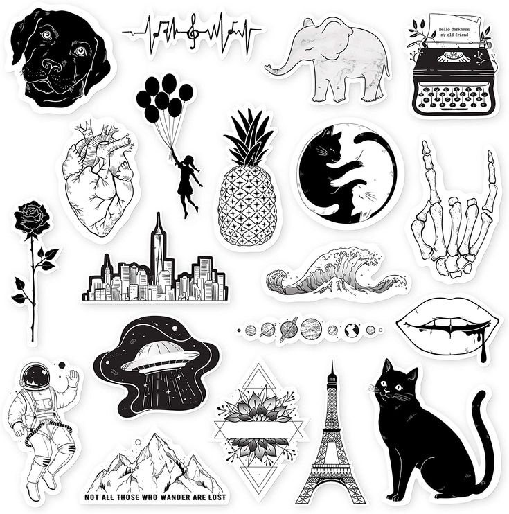 VSCO GIRLS STICKERS YOU NEED! Black and white stickers