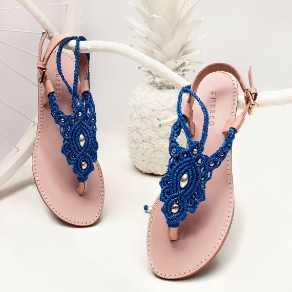 Marina Azul Macrame y sandalia de cuero rosa con tobillo correa / verano sandalia / sandalias / sandalias planas / descalzo / sandalias macramé
