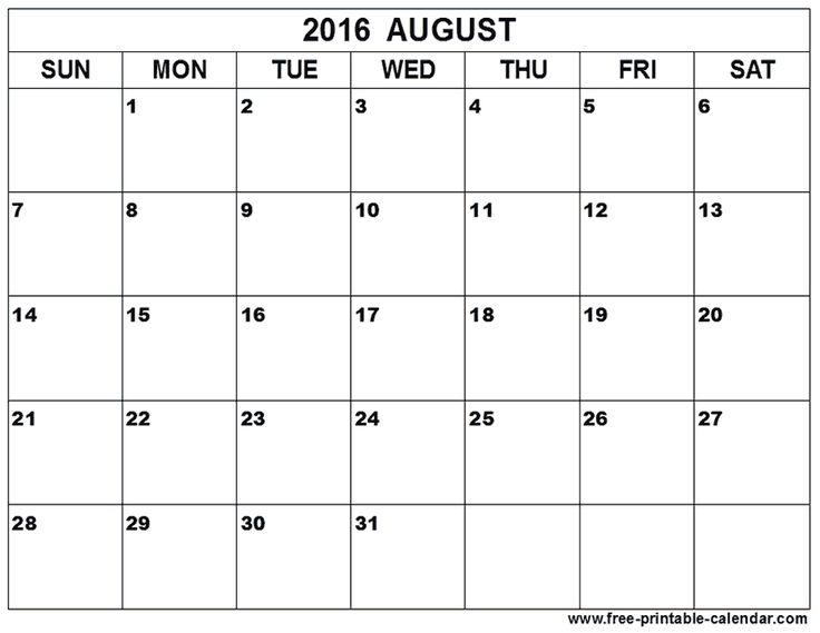 August 2016 Calendars