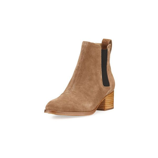 Rag & Bone Walker Suede Chelsea Boot (€380) ❤ liked on Polyvore featuring shoes, boots, ankle booties, camel, chelsea boots, block heel suede boots, camel suede boots, camel chelsea boots and suede chelsea boots