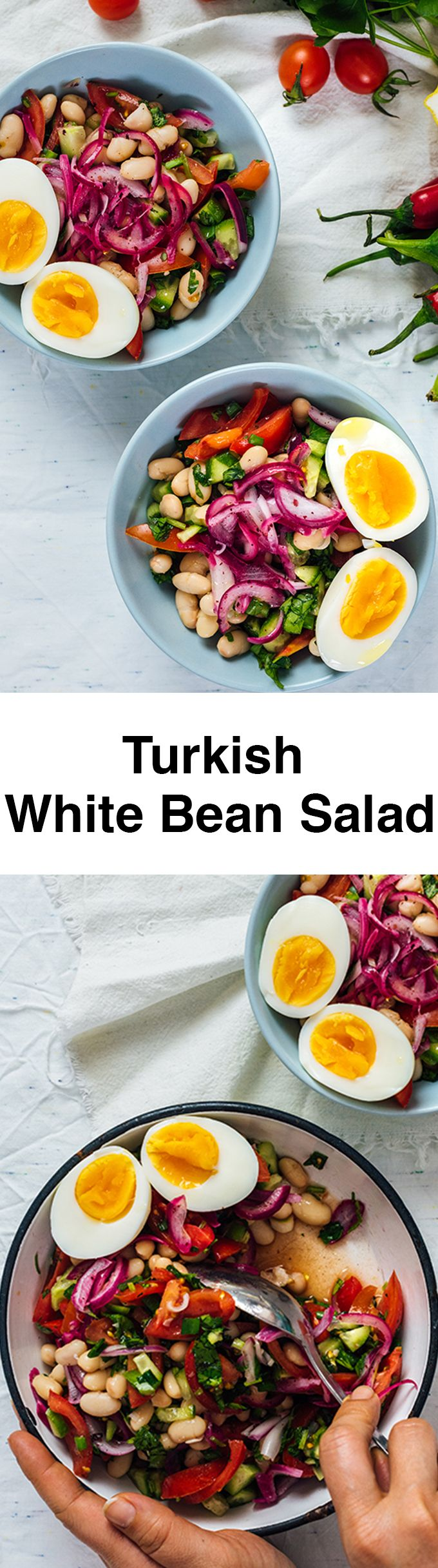 Turkish White Bean Salad is super healthy and easy to make with some simple ingredients. Packed with flavors and protein, this salad makes a wonderful vegetarian dish.