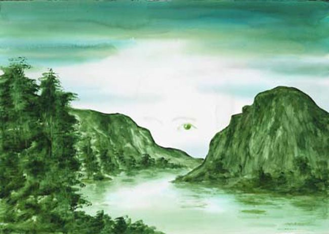 Pierluigi Pusole, Paesaggio con occhio molto grande, 2011, Acrylic and watercolour on paper, 70 x 100 cm