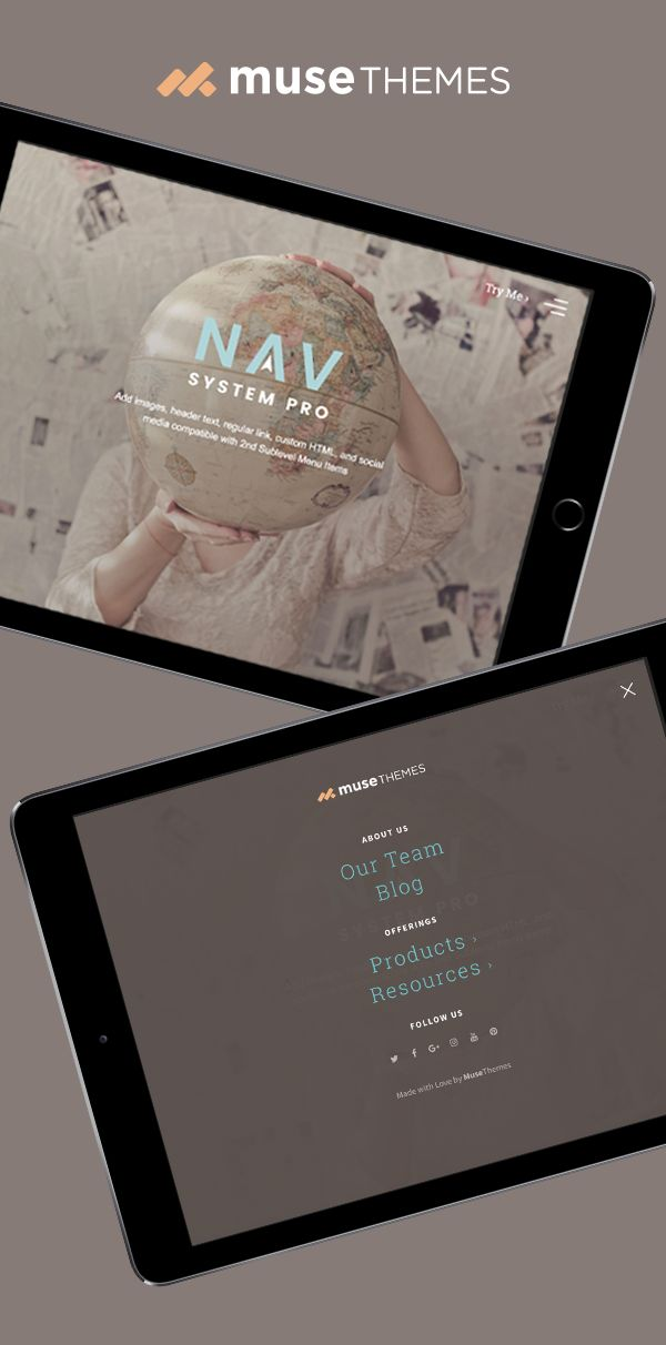The Nav System widget is the ultimate navigation & menu widget. Essentials and Pro versions are included in the download - MuseThemes    #adobemuse #musethemes #web #webdesign #design #graphicdesign #website #navigation #websitemenu