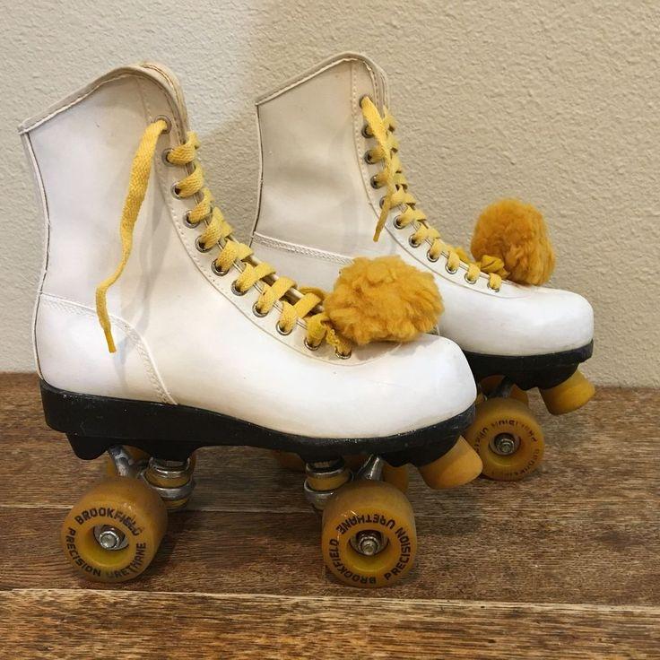 Vintage Roller Skates Roller Derby Skates 7 Women' White Urethene Wheels  | eBay