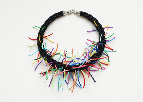 Multicolor kumihimo necklace black spikes by elfinadesign on Etsy