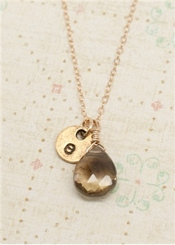 gold smokey drop necklace