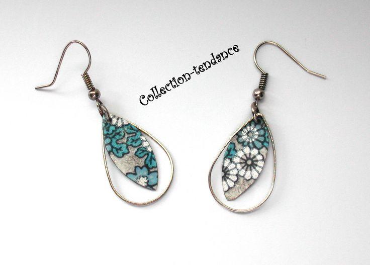 Collection à fleurs:Boucles d'oreilles à fleurs bleues/argentées~Paire de Boucles d'oreilles à fleurs bleues/argentées : Boucles d'oreille par collection-tendance