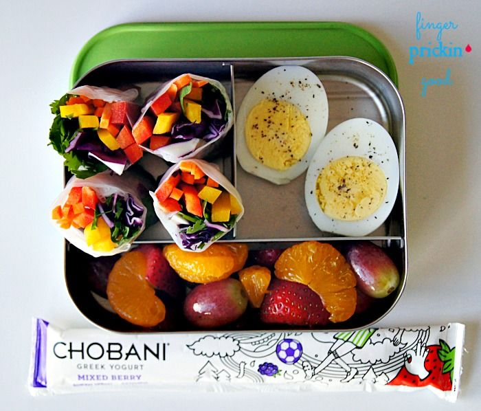 Here's what's inside: Rainbow Vegetable Spring Rolls= 18 carbs Fresh Fruit (grapes, strawberries, mandarin oranges)= 16 carbs Chobani Yogurt Tube= 7 carbs Hard-boiled Egg= 0 carbs Lunch Total= 41 carbs