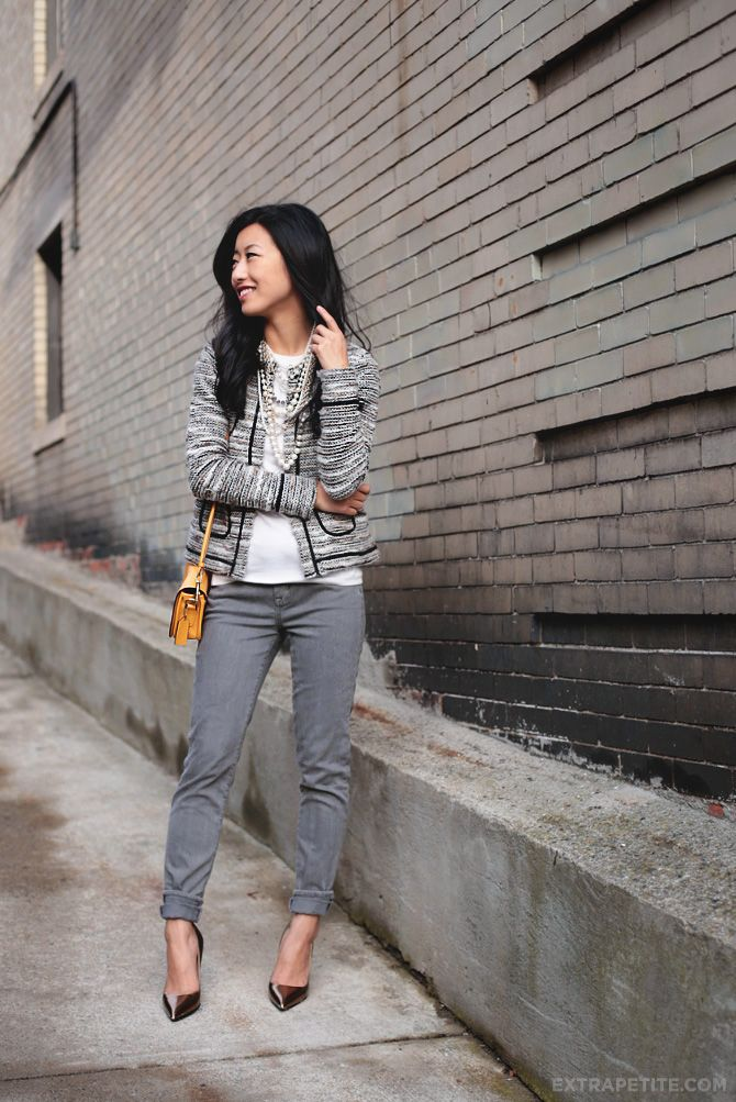 Petite fashion bloggers :: Extra Petite :: Metallic tweed cardigan and slouchy jeans
