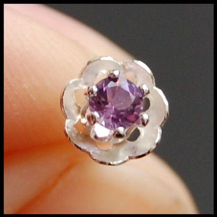 Claw Set, Hand Soldered Amethyst and Sterling Silver Flower Nose Stud | RockYourNose - Jewelry on ArtFire