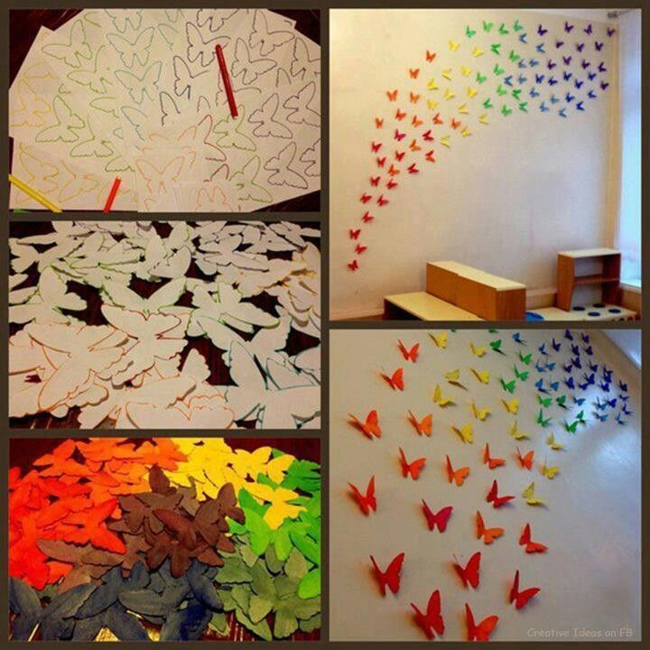 1: Print out online templates onto cardstock 2: If it's white cardstock you can color it or spraypaint away (or you can print black outlines onto colored cardstock) 3: cut out 4: fold them in half to give your butterflies more texture 5: use sticky-tack to place on the walls of your now brightened up dorm