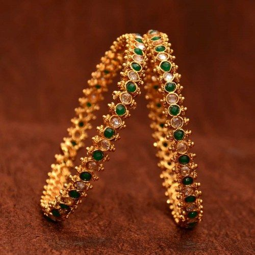 Anvi's classic designer bangles with emeralds and uncut stones(size-2.6)