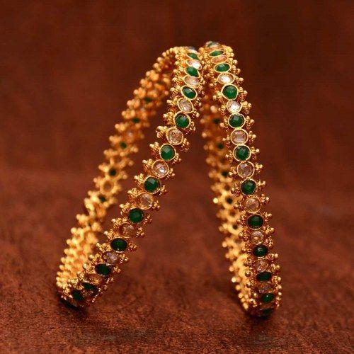 Anvi's classic designer bangles with emeralds and uncut stones(size-2.6)