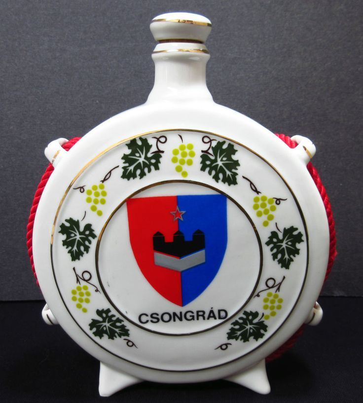 Hollohaza Hungary Moon Flask Hand Painted Porcelain Enamel CSONGRAD Signed #Moon #Hollohaza