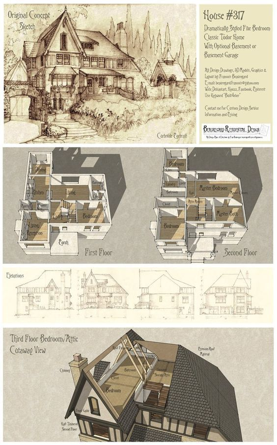 Front Elevation, first and second floor plans. Des…