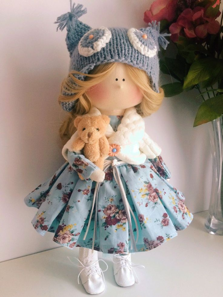 Купить Кукла серо-голубая Совушка. - кукла ручной работы, кукла, кукла в подарок