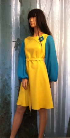 "Minsin, lemon wool dress with turquoise chiffon sleeves. ""Vilde"""