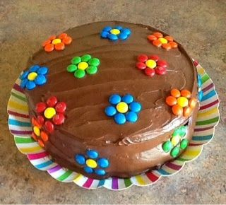 M and M cake,  made for school's cake walk