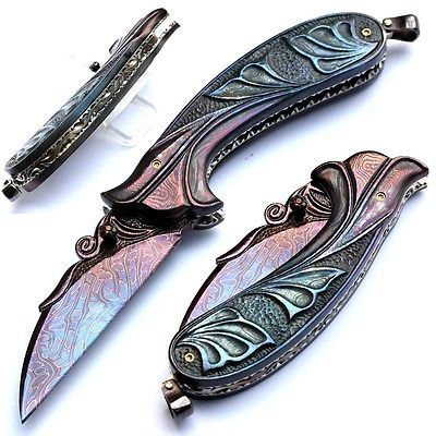 FOLDING KNIFE CARVED MOSAIC DAMASCUS BLADE CARVED DAMASCUS STEEL HANDLE TOPAZ