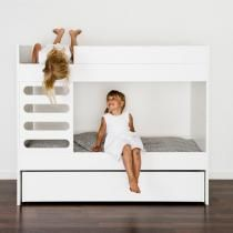 This bunk bed combination is perfect. Simple, modern styling, flexibility and a full size storage drawer underneath. It's even made by a company called AVA! Perfect :)