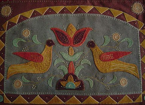 """Woolies"" woolen felt handstitched folk art by Rebekah L Smith"