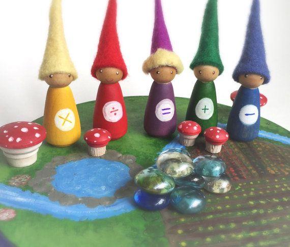 Math kabouters, set van 5 peg poppen, vier processen, mathmatics manipulatieve, houten pen mensen, waldorf, zintuiglijke, eco vriendelijke, hout en vilt