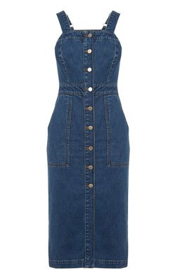 This Pinafore dress is constructed from denim and features two shoulder straps, a nipped in waist and a button through front. Height of model shown: 5ft 10 inches/178cm. Model wears: UK size 8.Fabric:Main: 98.0% Cotton