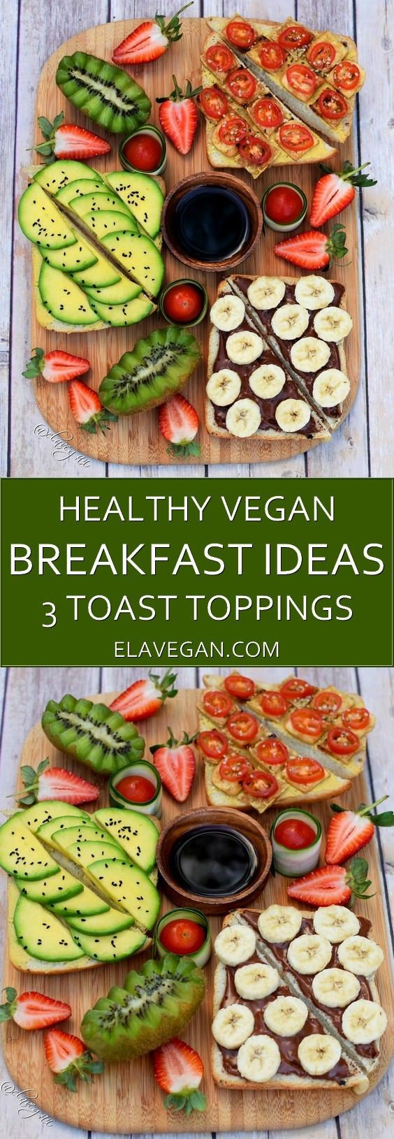 Healthy vegan breakfast ideas. I am presenting you 3 delicious and simple toast toppings. Avocado on toast, tofu on toast and a vegan low-fat chocolate peanut butter spread recipe.