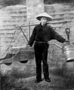 The Australian gold rushes. Chinese gold digger starting for work, circa 1860s.