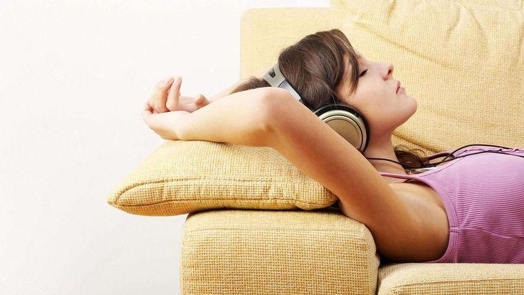 Brunette with Headphones HD Wallpaper