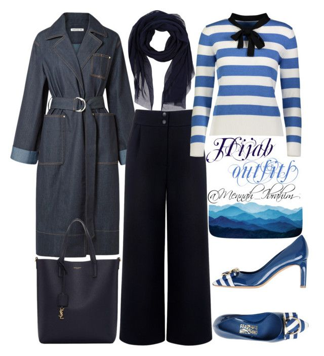 """""""#Hijab_outfits #modesty #Striped #Navy"""" by mennah-ibrahim on Polyvore featuring Elizabeth and James, Être Cécile, YAL New York, Barts, Salvatore Ferragamo and Yves Saint Laurent"""