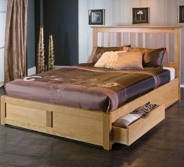 Wooden double bed with drawer designs