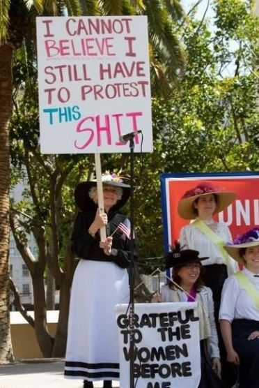 """Meanwhile, at a women's equality demonstration, possibly the best protest sign ever."""