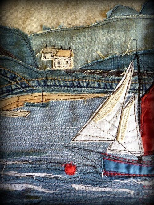 Denim Art sailboat - if you happen to know artist or source please comment! :) …