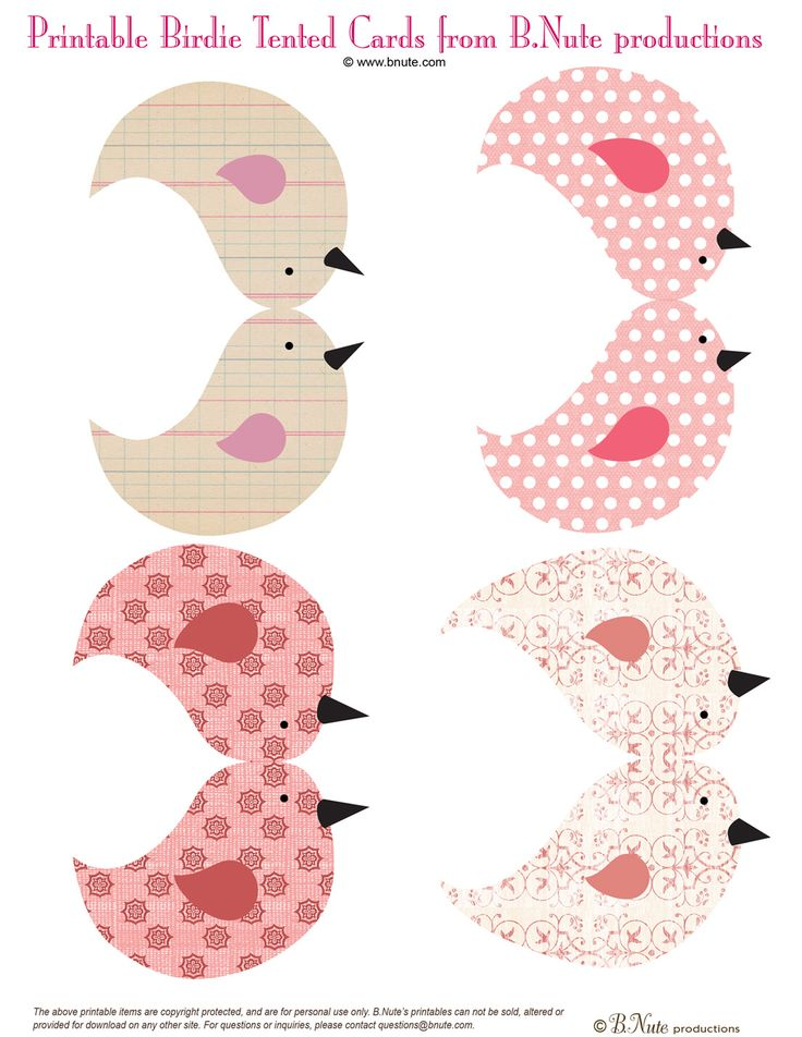 Free Printable Birdies and Birdie House from B.Nute productions   Sweet little birdies and a little bird house too-- here's the perfect de...
