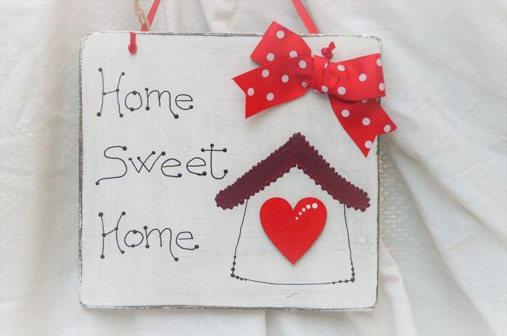 "TARGHETTA FUORIPORTA  "" HOME SWEET HOME "" SHABBY CHIC , by La Bottega di Dora, 10,00 € su misshobby.com"
