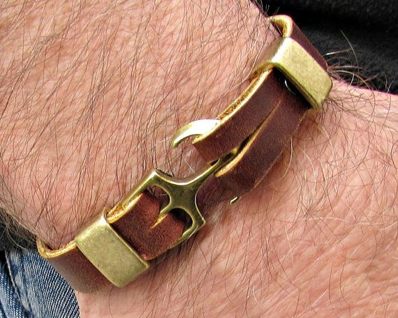 Anchor Mens Bracelet Mens Leather bracelet Cuff by GUSFREE on Etsy