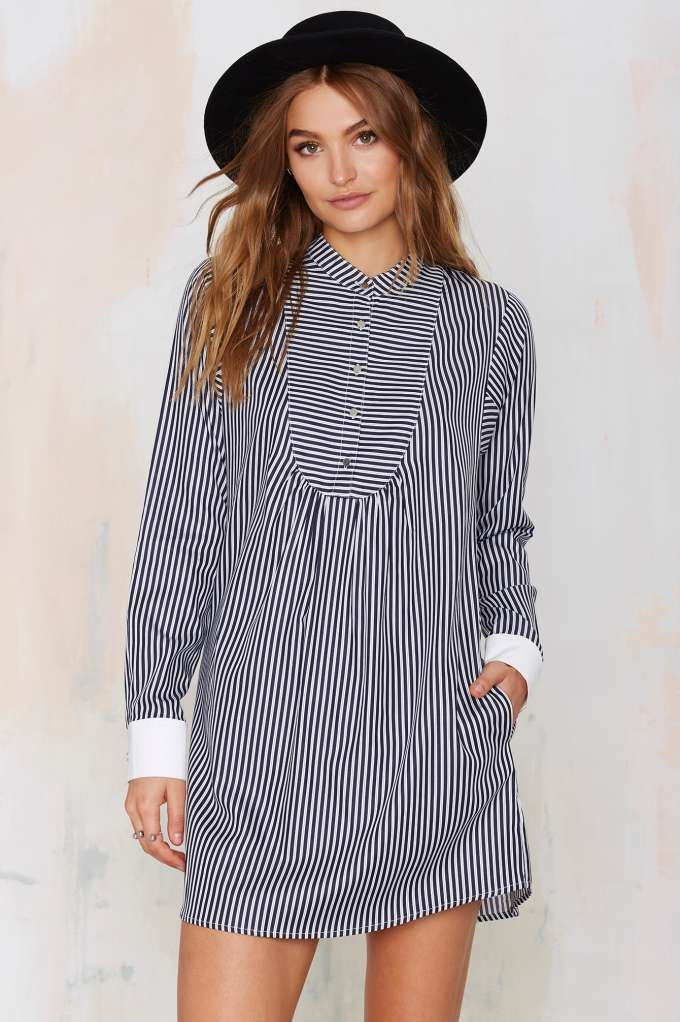 Nasty Gal To the Queen Pinstripe Shirt Dress | Shop Clothes at Nasty Gal!