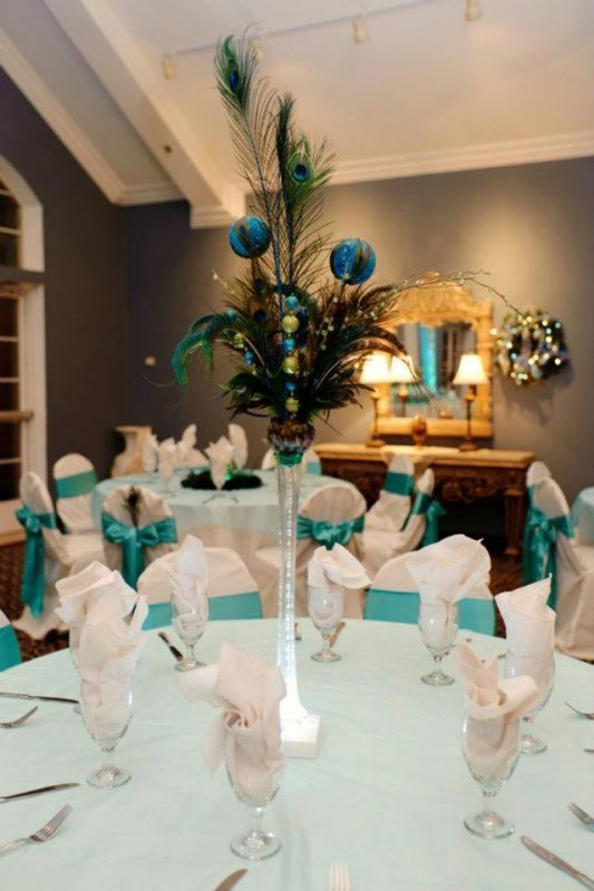 peacock centerpices | Wedding Ideas / Peacock Christmas Centerpiece : wedding blue christmas ...
