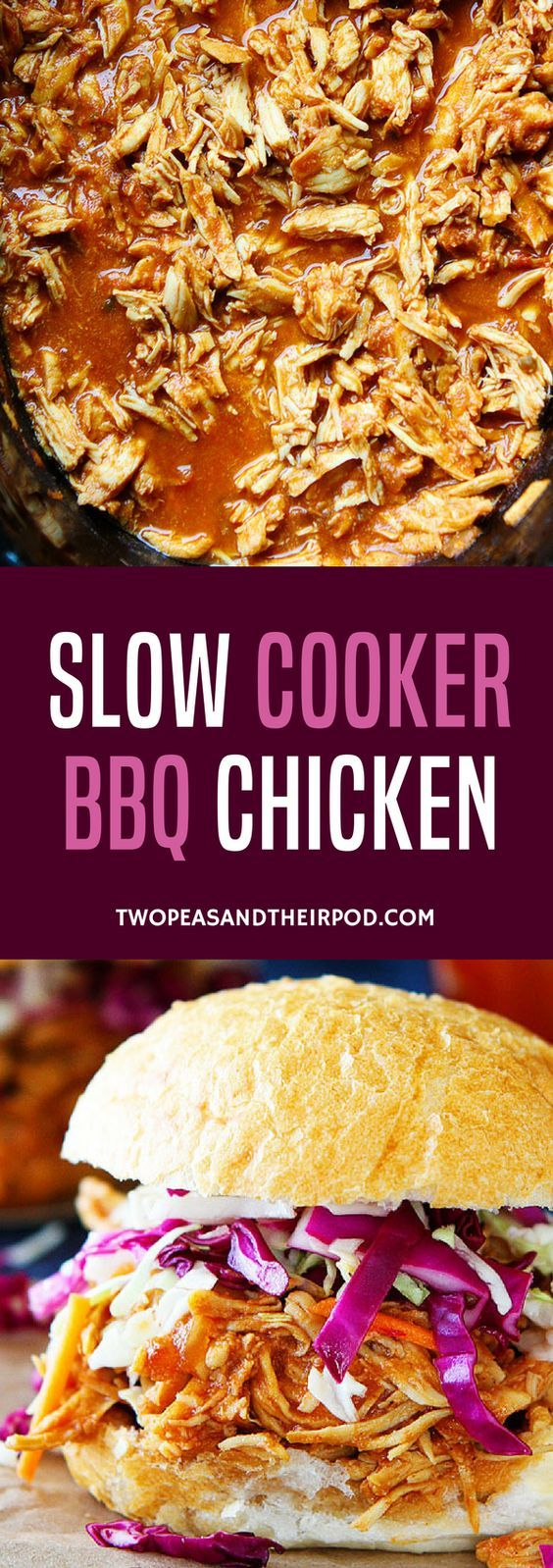 You only need 3 ingredients to make this easy Slow Cooker BBQ Chicken! This easy crockpot chicken dinner is a family favorite! ~ Two Peas & Their Pod