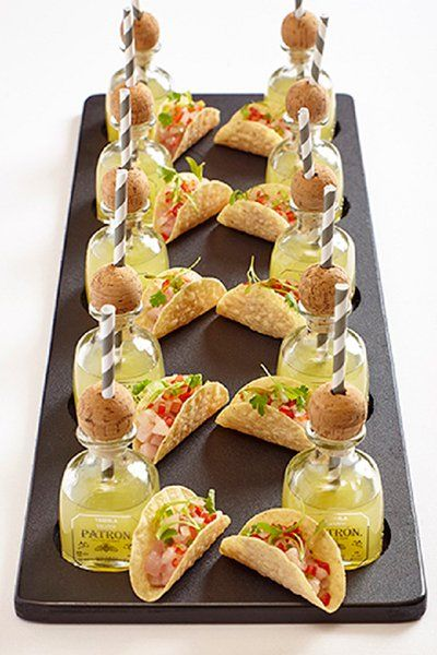 Trending: stylish mini appetizer and drink pairings, like these mini Patron margaritas with taco bites.