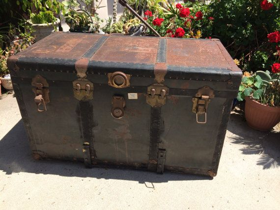 Antique Steamer Trunk Italian Chest 1920-30sTrain Oceanliner Wardrobe Steampunk Heavy Metal Wood Retro Gothic large steamer luggage