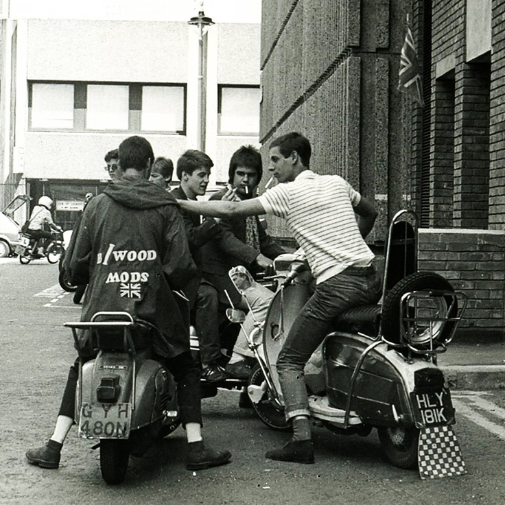 60s Mods wearing polo shirts and parkas.
