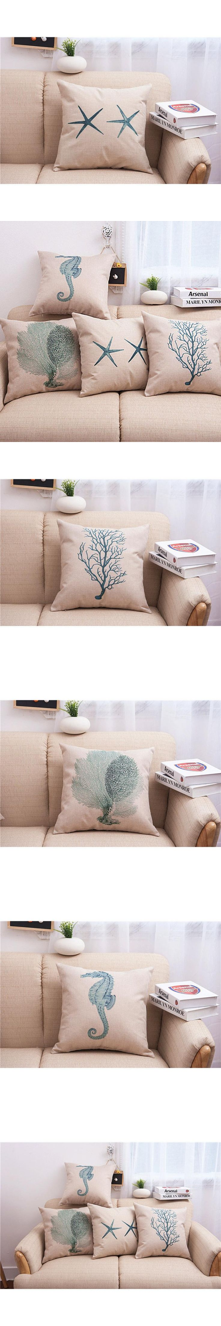 45*45cm Cushion Cover Pillow Case Animal Hippocampus Seaweed Starfish Cushion Case Vintage Pillow Linen Sea Grass Cover