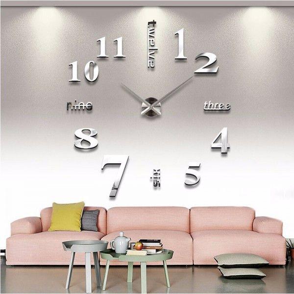3D Nalepovacie hodiny DIY Clock Twelve Time, strieborná 90-130cm
